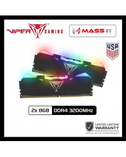 PATRIOT VIPER RGB 16GB (2x 8GB) DDR4 3200MHz Gaming RAM