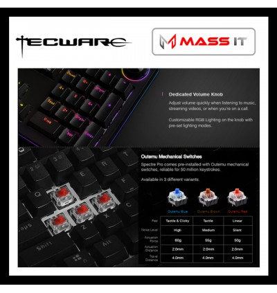 TECWARE Spectre PRO Red Switch RGB Mechanical Gaming Keyboard