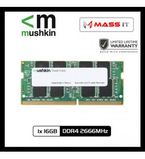 MUSHKIN Essentials SO-DIMM 16GB DDR4 2666MHz Laptop RAM Notebook RAM