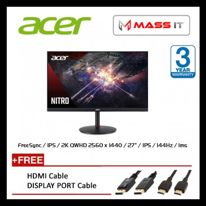 "ACER Nitro XV272U P XV272UP 27"" 2K 144Hz 1ms IPS FreeSync G-Sync Compatible WQHD Gaming Monitor"