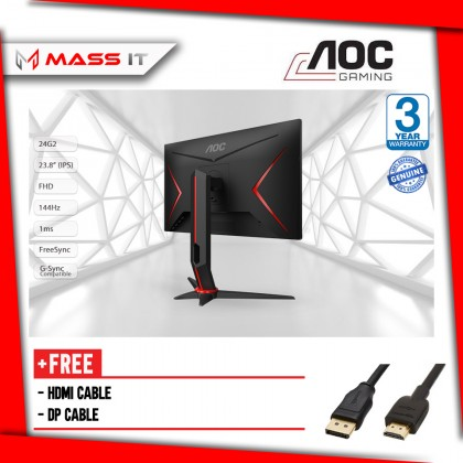 """AOC 24G2 23.8"""" 144Hz 1ms FreeSync G-Sync Compatible IPS FHD Gaming Monitor"""