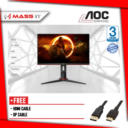 """AOC 27G2 27"""" 144Hz 1ms FreeSync G-Sync Compatible IPS FHD Gaming Monitor"""