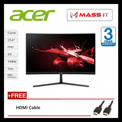 "ACER EI242QR 23.6"" Curve 144Hz 1ms FreeSync G-Sync Compatible FHD Gaming Monitor"