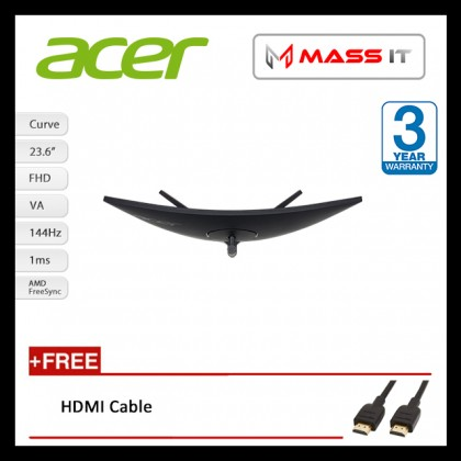 """ACER EI242QR 23.6"""" Curve 144Hz 1ms FreeSync G-Sync Compatible FHD Gaming Monitor"""