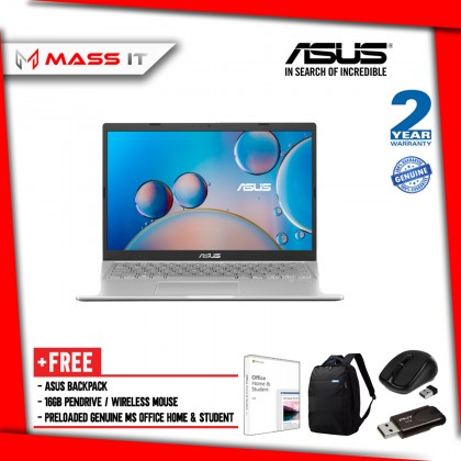 """ASUS A516J-ABR374TS Silver Free MS Office Home & Student (i3-1005G1/Intel UHD/4GB D4/256GB NVMe M.2 SSD/15.6"""" HD/W10/2Y)"""