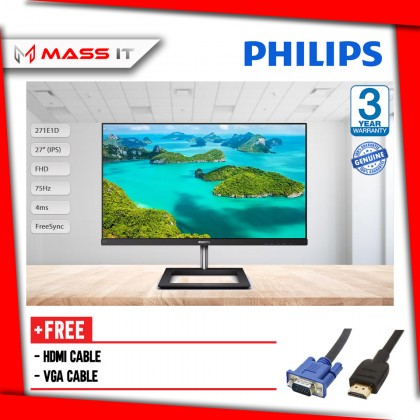 """PHILIPS 271E1D 27"""" 75Hz 4ms FreeSync IPS FHD Gaming Monitor"""